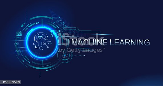 istock Machine learning banner logo for technology, Ai, big data, algorithm, neural network, deep learning and autonomous. futuristic vector landing page concept background. 1273072739