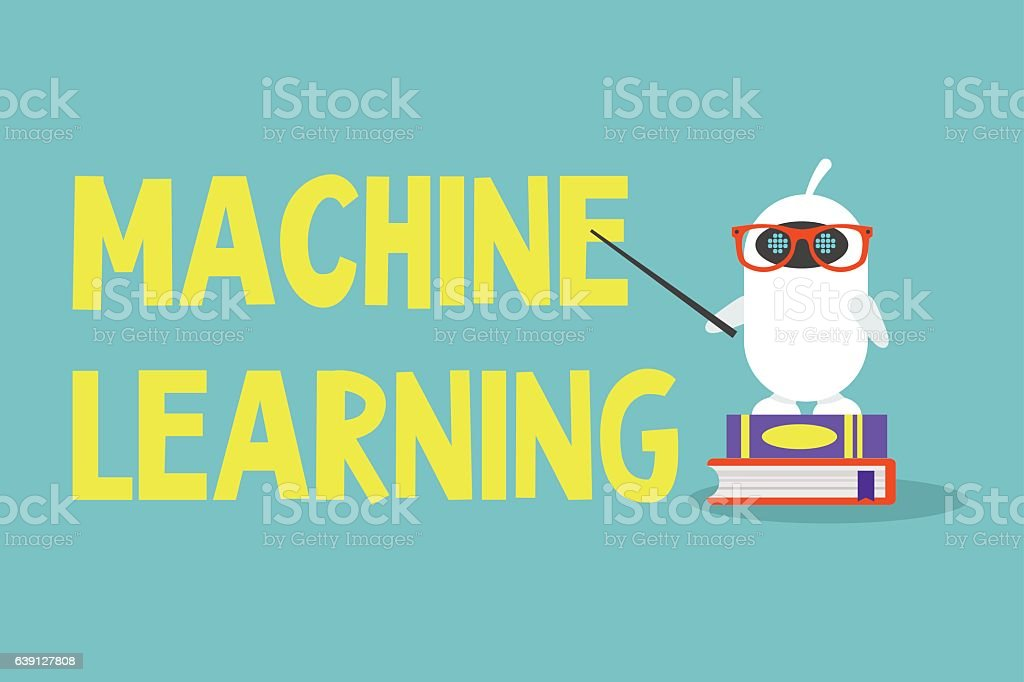Machine learning concept. Cute cartoon robot pointing on the sign - arte vectorial de Aprender libre de derechos