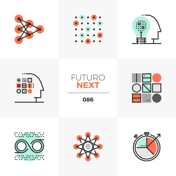 machine learning futuro next icons - architecture illustrations stock illustrations