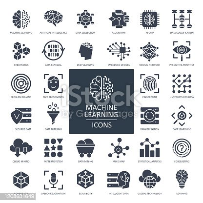 Machine Learning Glyph Icons - Vector Illustration