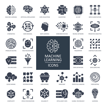 Machine Learning Glyph Icons - Vector