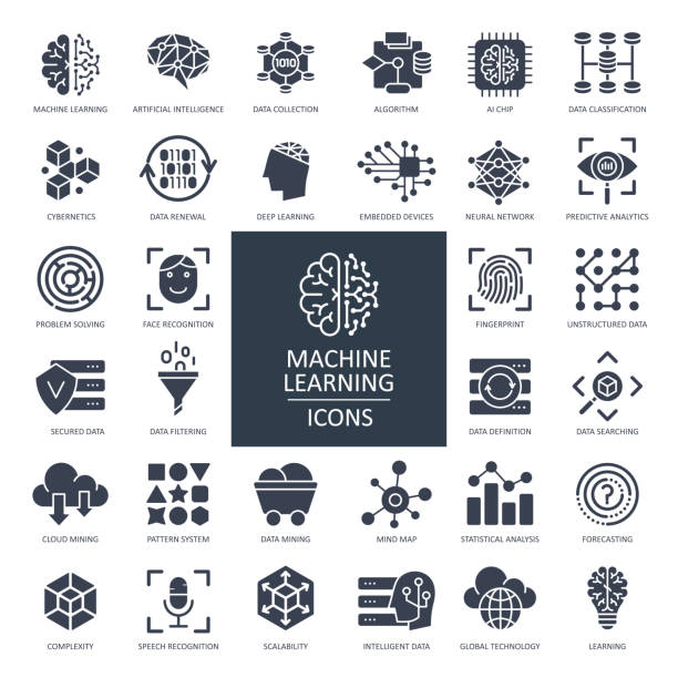 Machine Learning Glyph Icons - Vector Machine Learning Glyph Icons - Vector Illustration technology icon stock illustrations