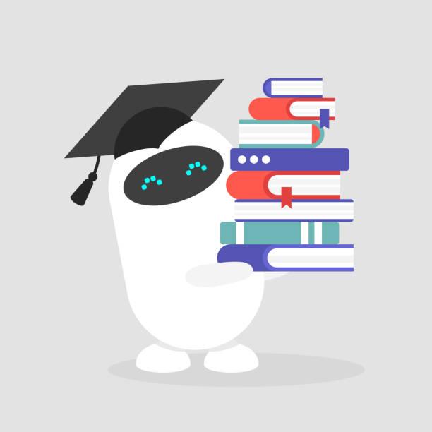stockillustraties, clipart, cartoons en iconen met machinaal leren. gegradueerde schattig robot het dragen van een cap en houden van een stapel boeken / plat bewerkbare vector illustratie, illustraties - flat cap