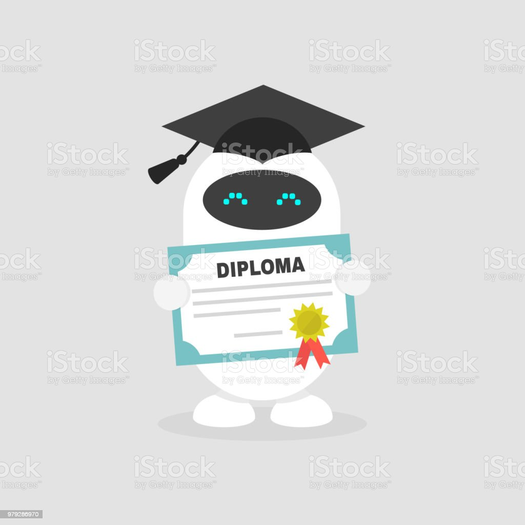 Machine Learning Graduated Cute Robot Wearing A Cap And Holding A