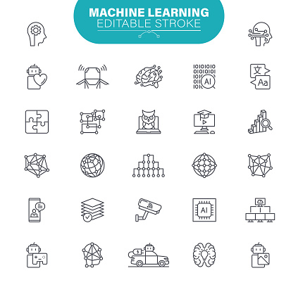 Machine Learning Icons. Set contains icons as Network AI, Data Center, Cloud Computing, Illustration