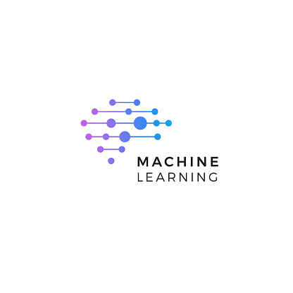 Machine learning logo. Neurons connections, synapses emblem. Neural network. Isolated human brain icon. Artificial Intelligence innovation sign. AI symbol. Digital data vector illustration. Cyber tech