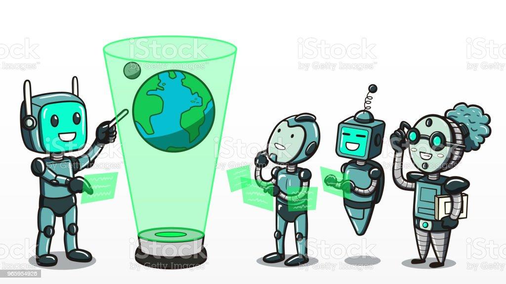 Machinaal leren - Robots, leren over de aarde - Royalty-free Analyseren vectorkunst