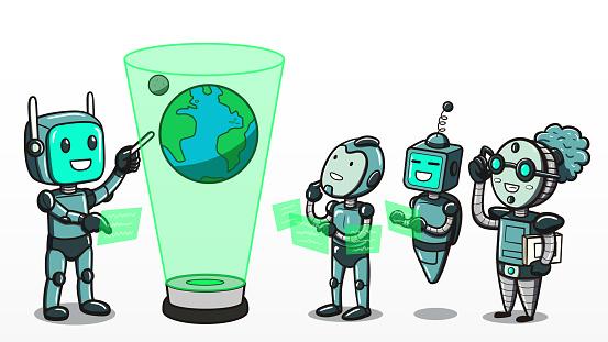 Machinaal Leren Robots Leren Over De Aarde Stockvectorkunst en meer beelden van Analyseren