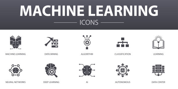 Machine learning simple concept icons set. Contains such icons as data mining, algorithm, classification, AI and more, can be used for web, logo, UI/UX Machine learning simple concept icons set. Contains such icons as data mining, algorithm, classification, AI and more, can be used for web, logo, UI/UX machine learning stock illustrations