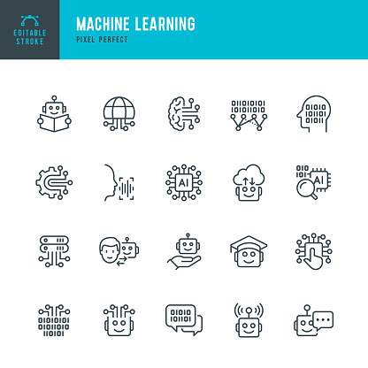 Machine Learning - thin line vector icon set. Pixel perfect. Editable stroke. The set contains icons: Artificial Intelligence, Robot, Computer Language, Big Data, Digital Profile, AI Research, Neural Network.