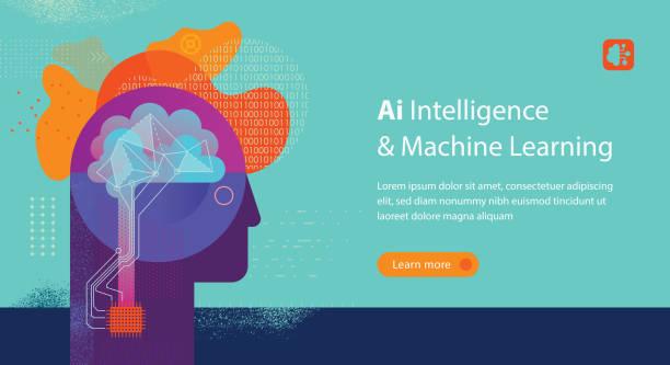 Machine Learning Web Banner Vorlage – Vektorgrafik