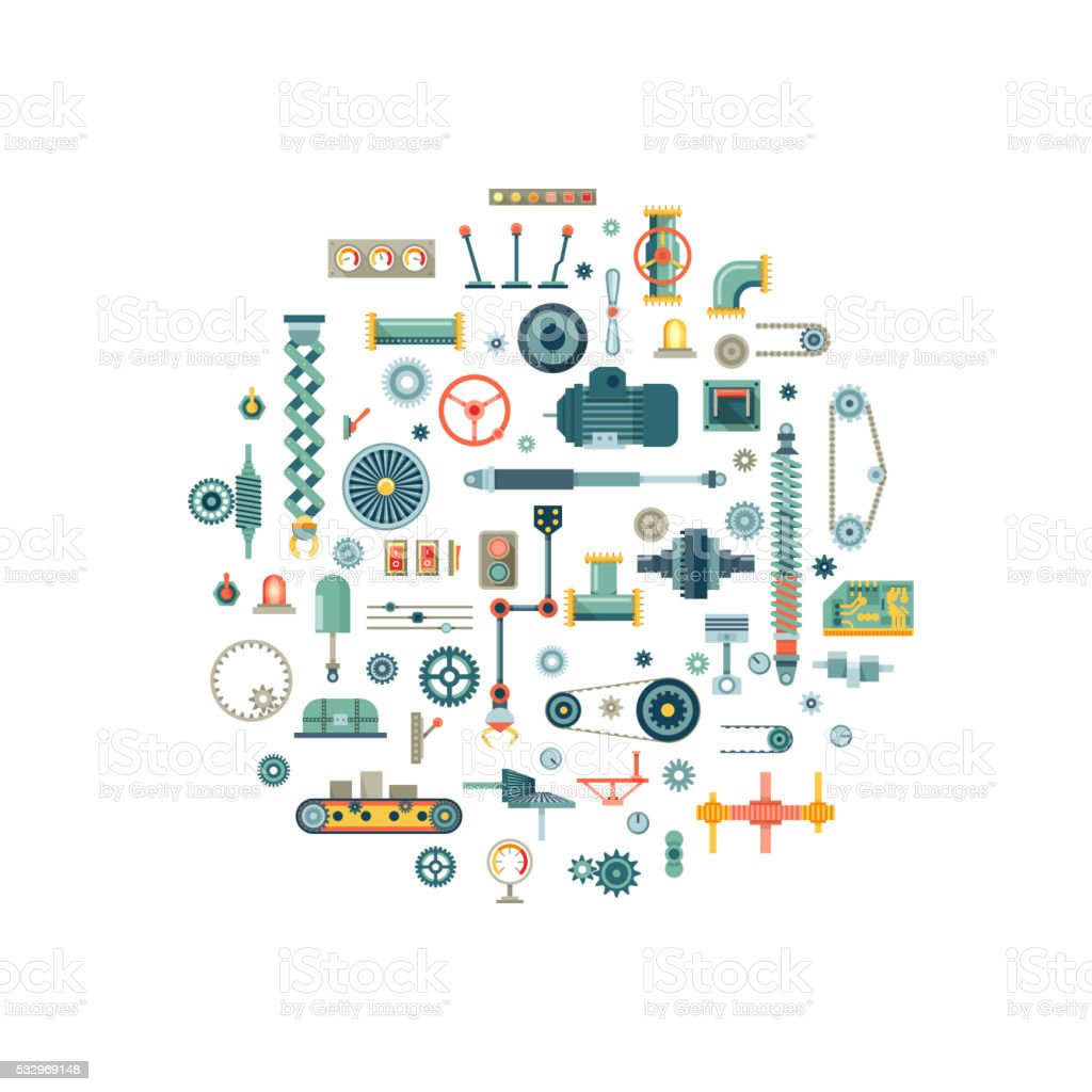 Machine parts flat vector icons in circle composition vector art illustration