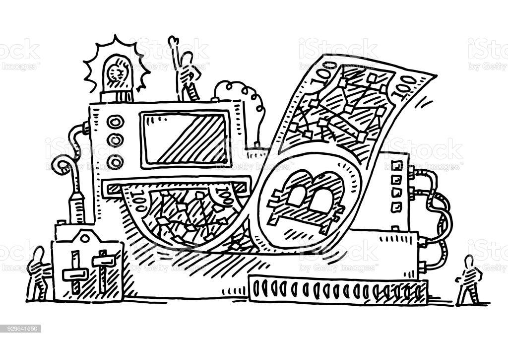Vetores De Maquina De Impressao De Notas De Bitcoin Desenho E Mais