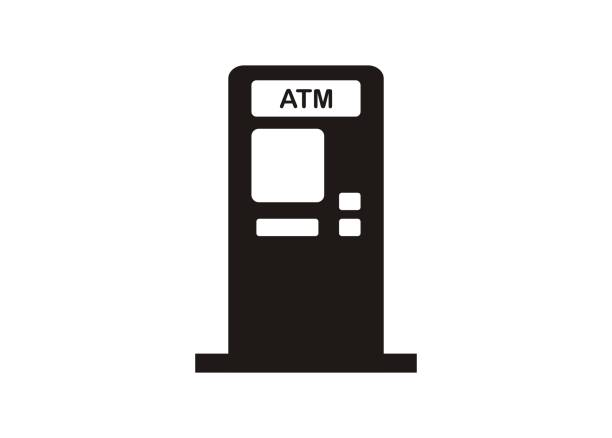 illustrazioni stock, clip art, cartoni animati e icone di tendenza di atm machine. simple icon in black and white - biglietteria automatica