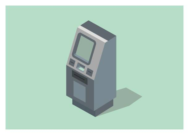 illustrazioni stock, clip art, cartoni animati e icone di tendenza di atm machine simple illustration, isometric view - biglietteria automatica