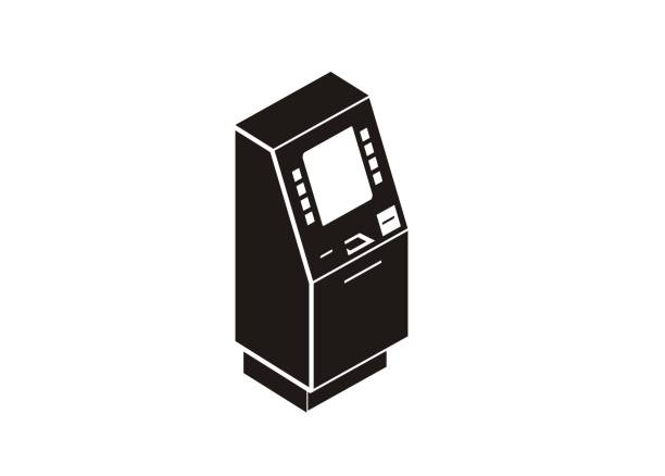 illustrazioni stock, clip art, cartoni animati e icone di tendenza di atm machine simple isometric icon - biglietteria automatica