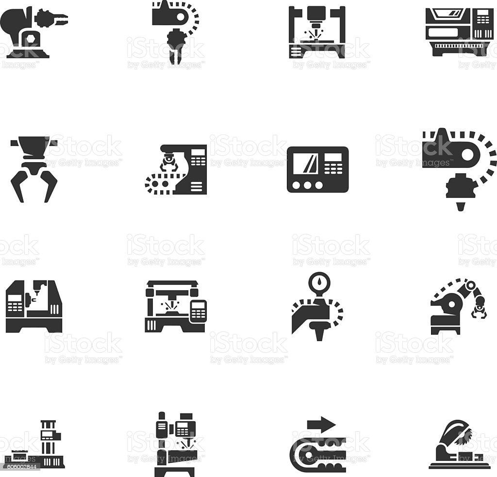 Machine tool icons set vector art illustration
