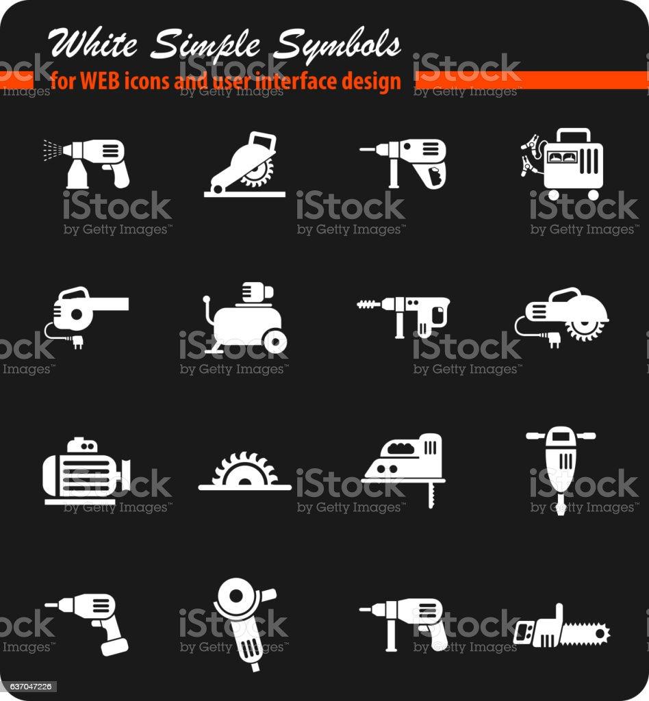 machine tools icon set vector art illustration