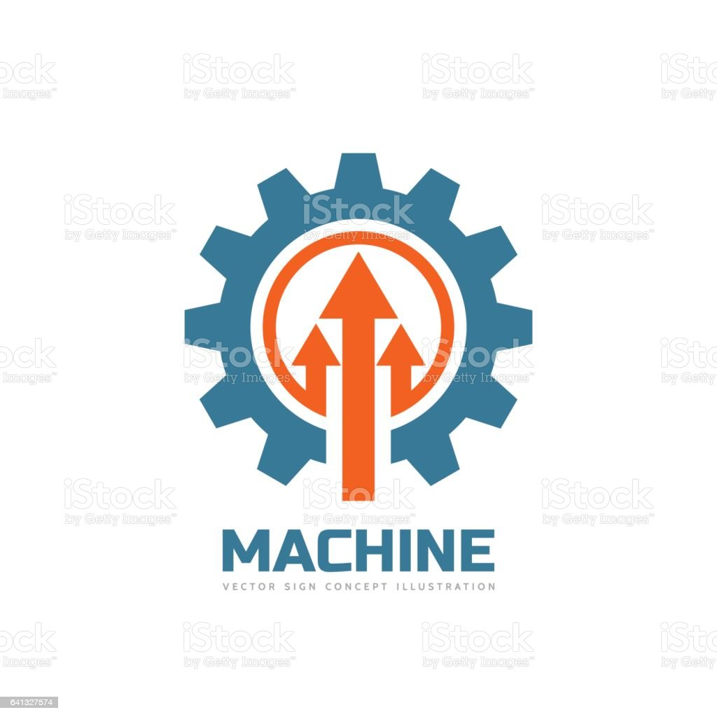 Machine - vector business logo template concept illustration. Gear factory sign. Cog wheel and arrows technology symbol. vector art illustration