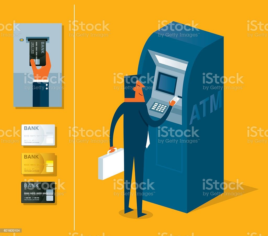 ATM machine vector art illustration