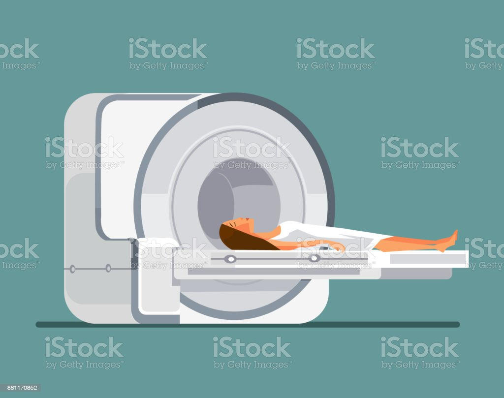 MRI machine with patient vector art illustration