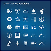Smart agriculture, precision farm , UAV , sensor technology trend concept. White icons set on blue background.