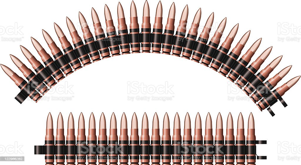 Machine-gun belts vector art illustration
