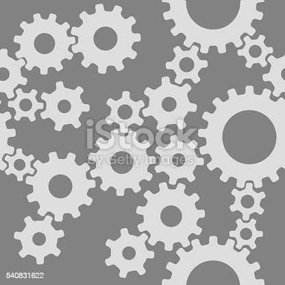 Vector seamless pattern of connected gears on a gray background.