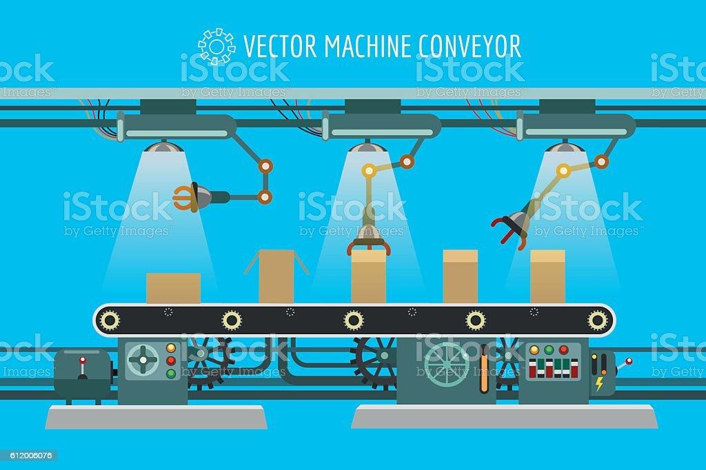 Machinery industrial factory conveyor belt - ilustración de arte vectorial