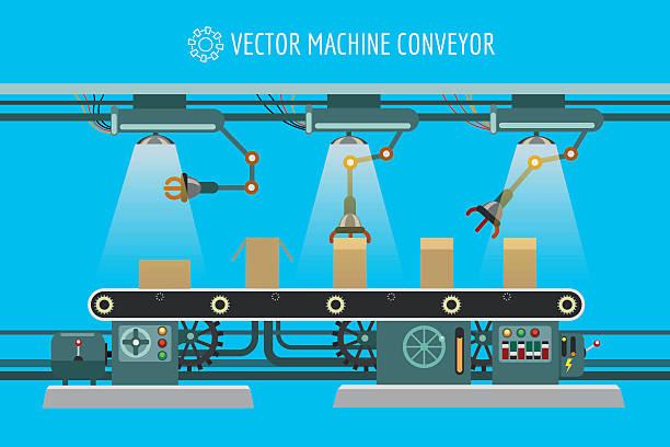 ilustraciones, imágenes clip art, dibujos animados e iconos de stock de machinery industrial factory conveyor belt - infografías de industria