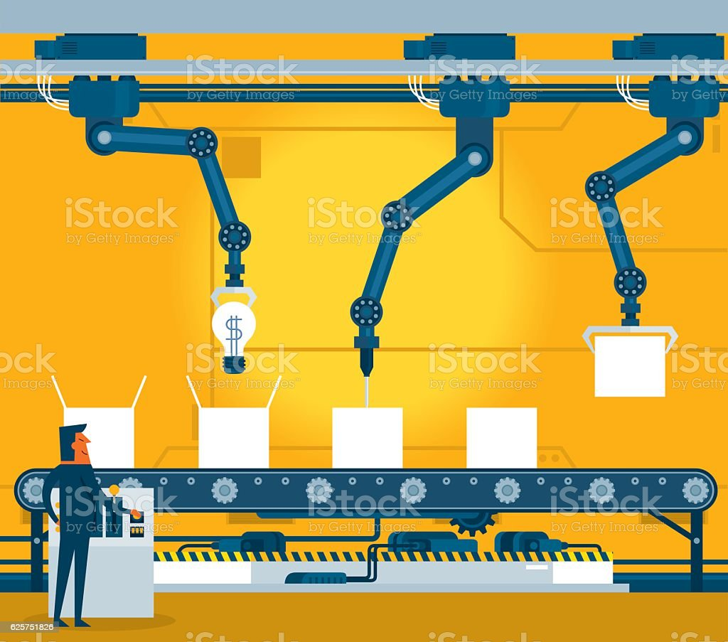 Machinery industrial factory vector art illustration