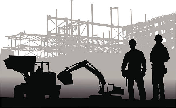 machinery - bauarbeiter stock-grafiken, -clipart, -cartoons und -symbole