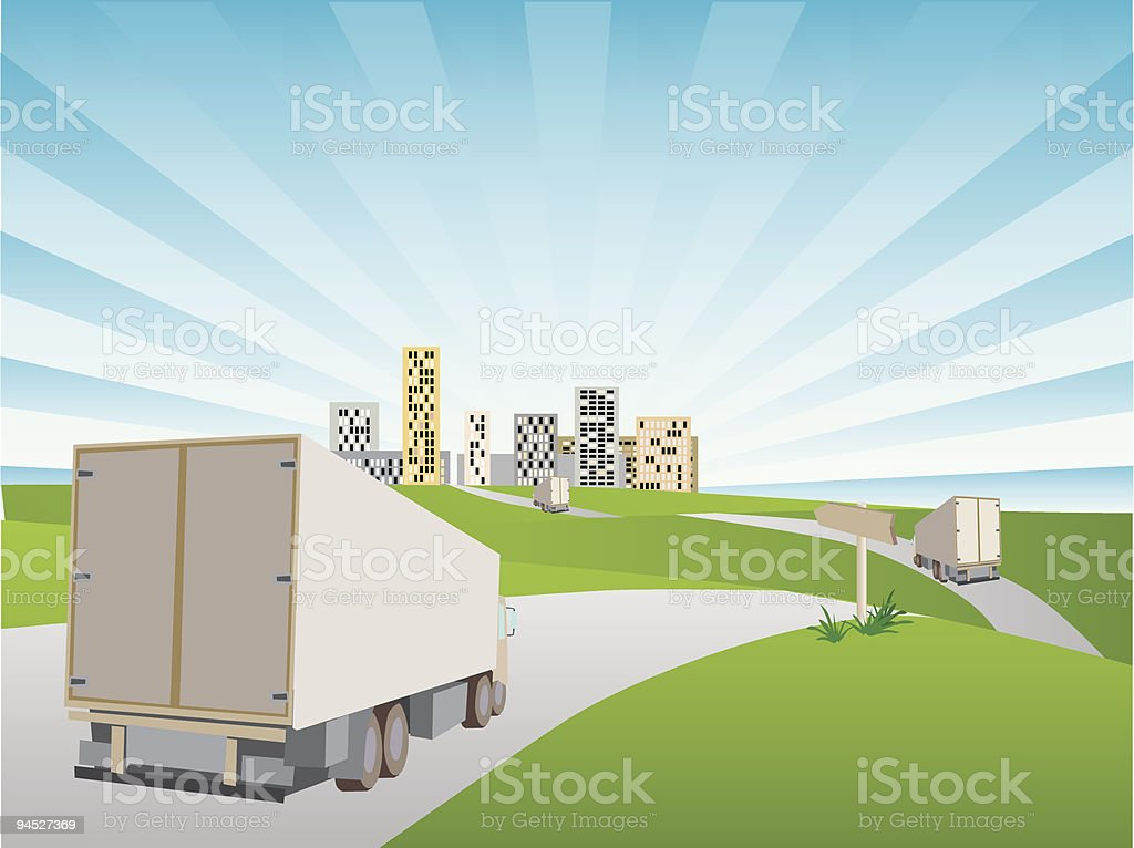 Machines drivings commodities in a city. royalty-free stock vector art