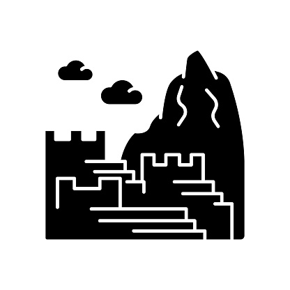 Machu picchu black glyph icon. Inca citadel in mountains. Tourist attractions Cusco. Sacred Valley in Eastern Cordillera. Silhouette symbol on white space. Vector isolated illustration