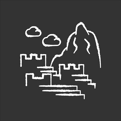 Machu picchu chalk white icon on black background. Inca citadel in mountains. Tourist attractions Cusco. Sacred Valley in Cordillera. Monument of civilization of Indians. Isolated vector illustration