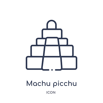 machu picchu icon from monuments outline collection. Thin line machu picchu icon isolated on white background.