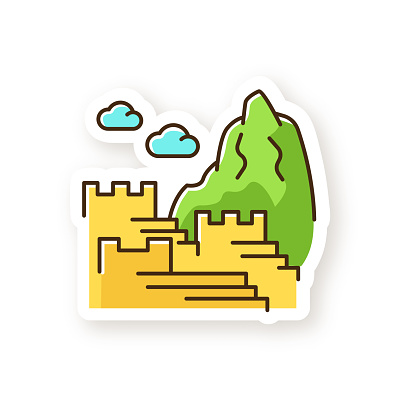 Machu picchu patch. Inca citadel in mountains. Tourist attractions Cusco. Sacred Valley in Cordillera. Monument of Indians civilization. RGB color printable sticker. Vector isolated illustration