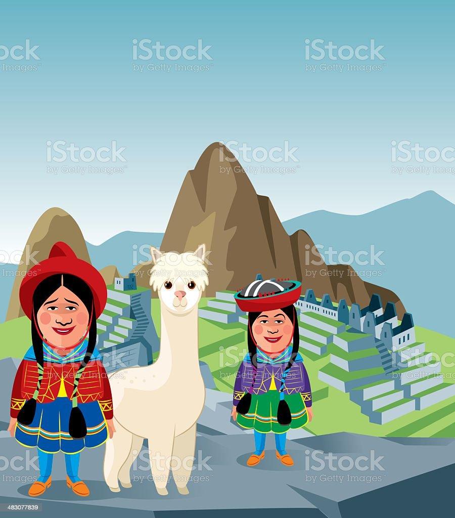 Machu Picchu - ilustração de arte em vetor