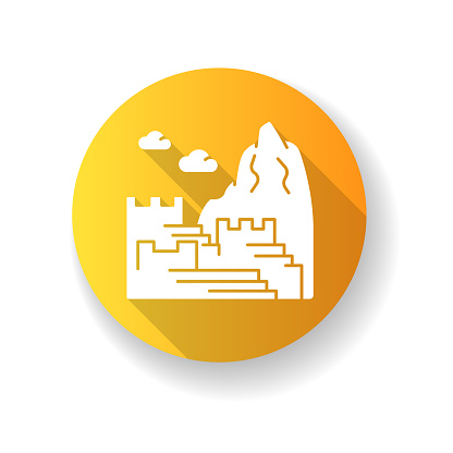 Machu picchu yellow flat design long shadow glyph icon. Inca citadel in mountains. Tourist attractions. Ancient monument of civilization of Indians. Silhouette RGB color illustration