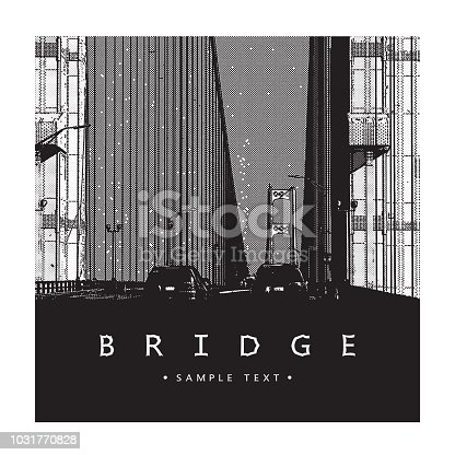 Beautiful vector illustration of a long steel suspension bridge, architecture located in North America.