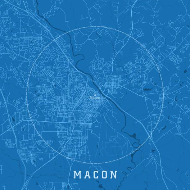 Macon GA City Vector Road Map Blue Text vector art illustration