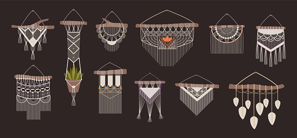 Macrame. Boho handcrafted wall decorations made of ropes and knots. Braided thread ornament hanging on wooden stick. Handmade hanger for flowerpot. Indoor elements set. Vector handiwork