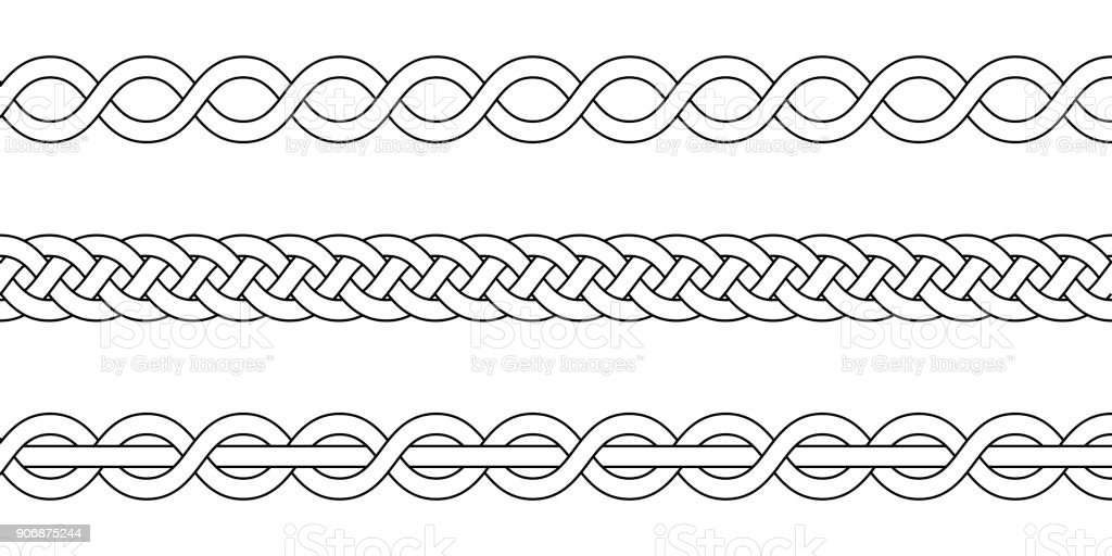 macrame crochet weaving, braid knot, vector knitted braided pattern intersecting strands wicker vector art illustration