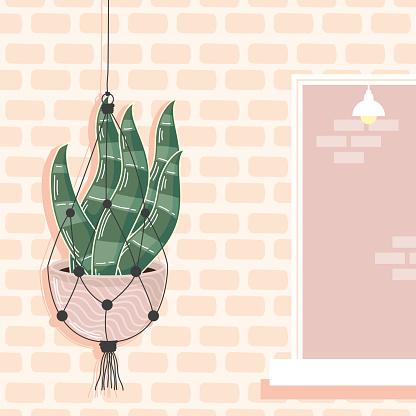macrame hanger in wall