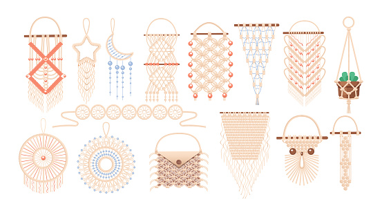 Macrame wall hanging design, braided decorative ornaments. Boho, ethnic handmade knitted pattern. Knitted jewelry and home accessories isolated on white background