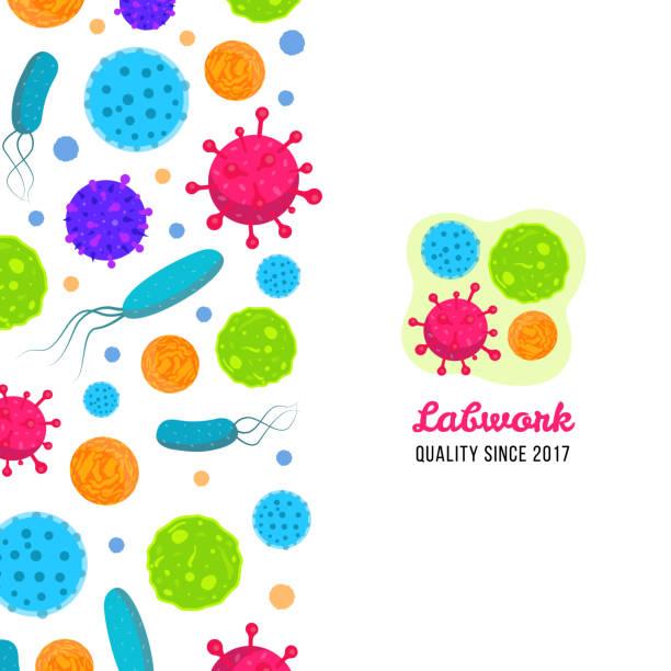 Macro bacteria and virus vector biology illustration. Medicine lab template Vector biology icons print. Illustration of bacteria and microbe organism allergen. micro organism stock illustrations