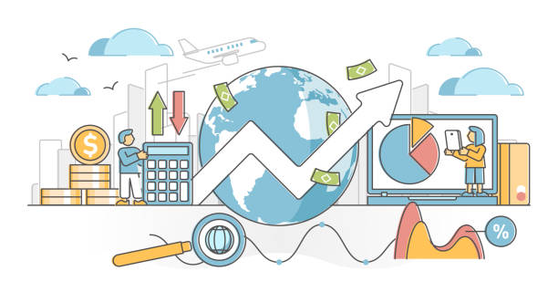Macroeconomics as global market financial economy report outline concept vector art illustration