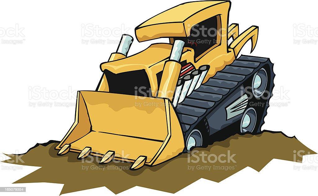 Mad Bulldozer vector art illustration