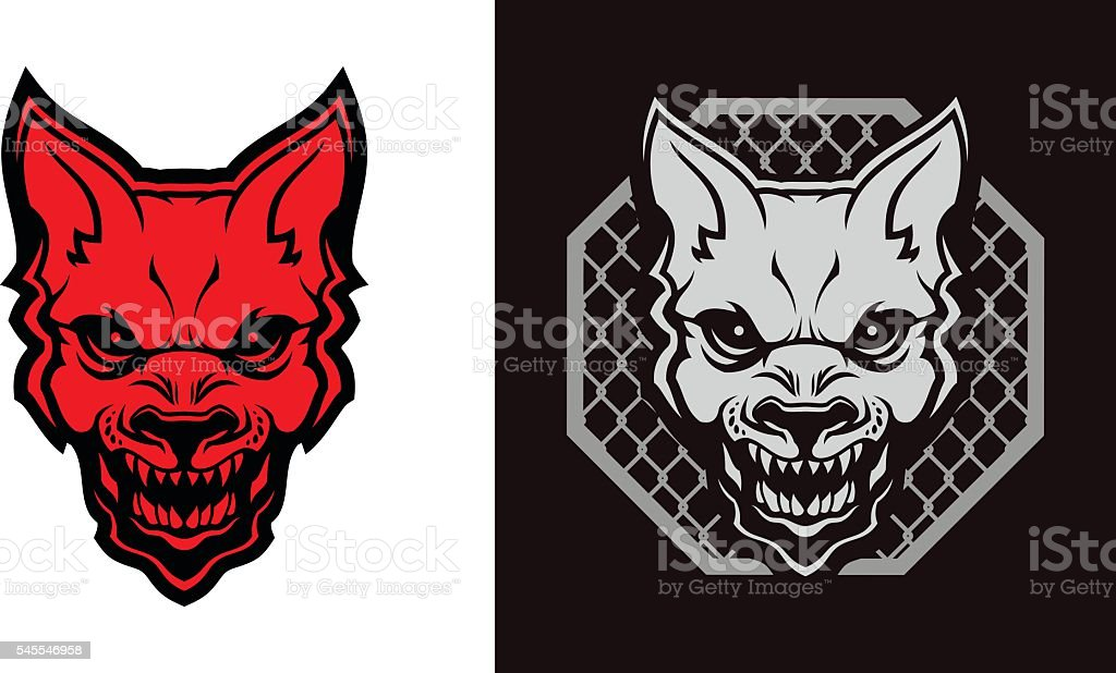 Mad dog head vector art illustration