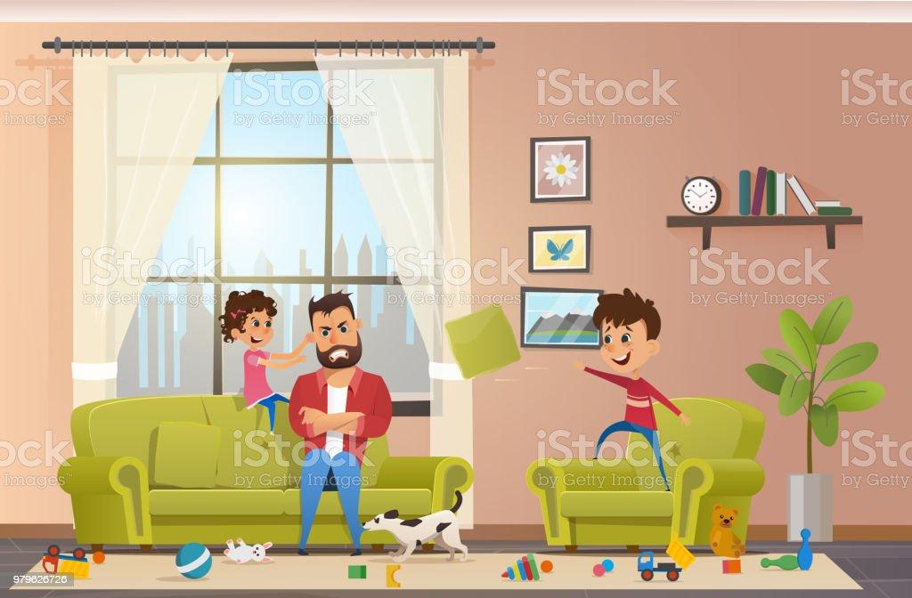 Royalty Free Messy Living Room Clip Art Vector Images
